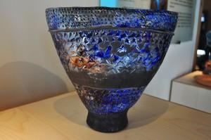 Vase raku, travail d'empreintes